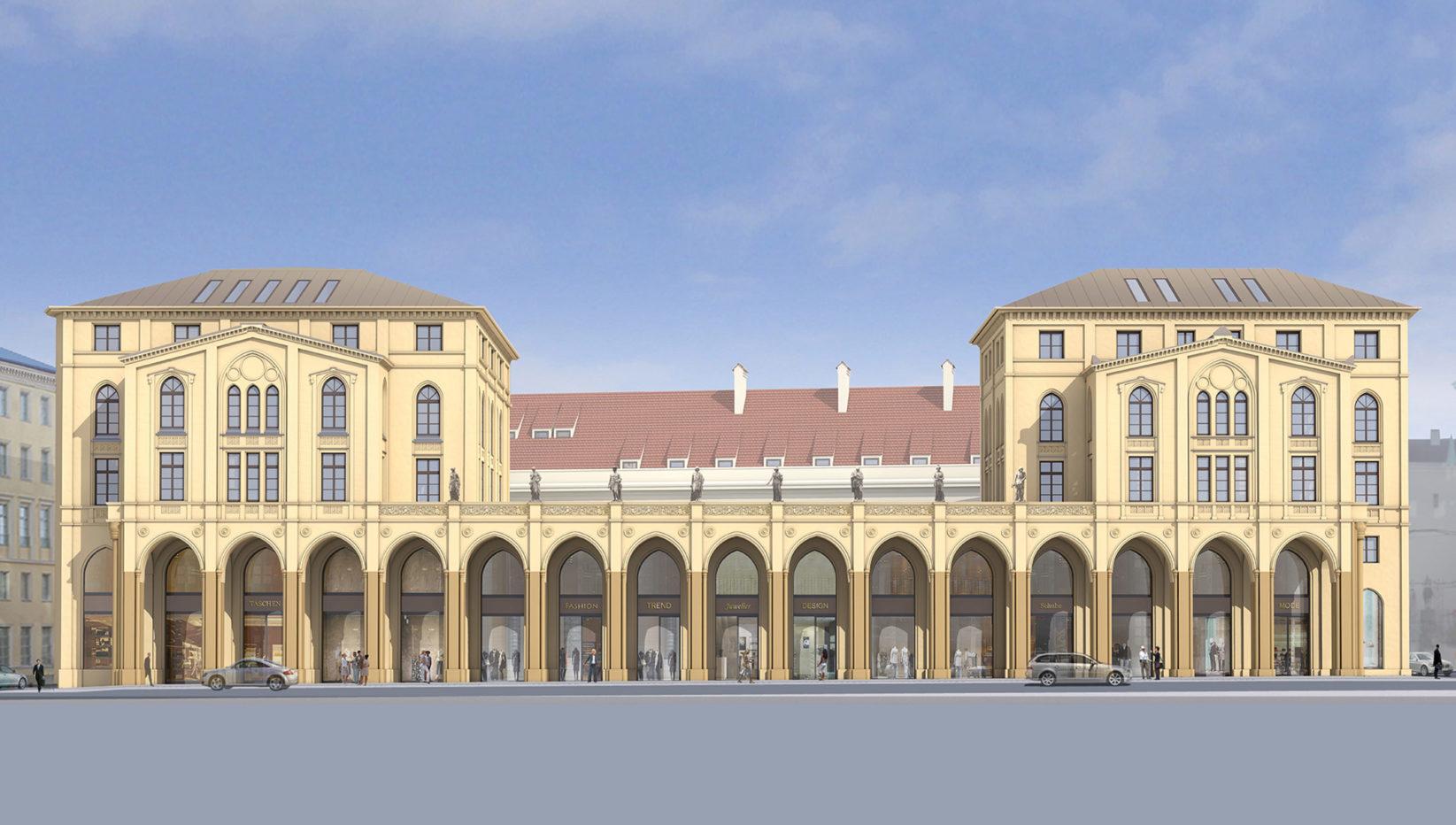 Grafische Darstellung des Gebäudes in der Maximilianstraße 6 und 8 in München wie von Brunner + Co Baugesellschaft saniert. Die denkmalgeschützte Fassade ist gelb.