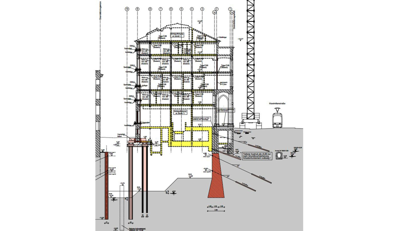 Darstellung des Schnitts für das denkmalgeschützte Gebäude in der Maximilianstraße München im Zuge des Bauantrags für die Sanierung und Erweiterung.